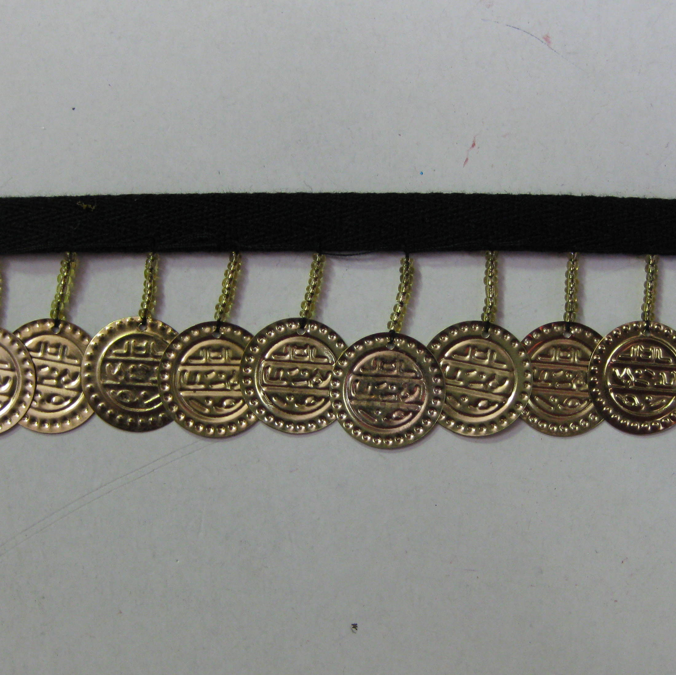 COIN FRINGE BLACK TAPE GOLD COIN