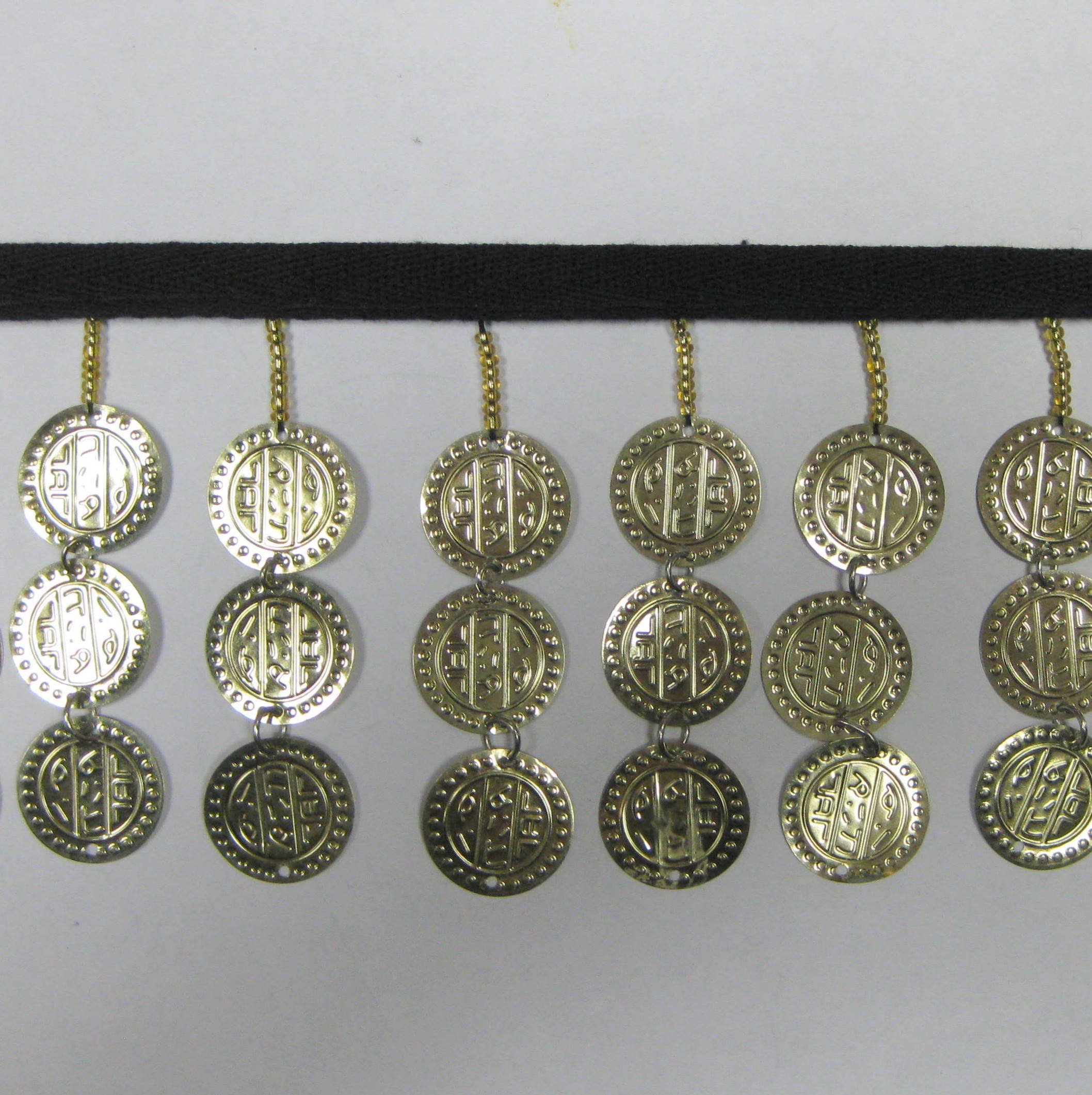 COIN FRINGE BLACK TAPE TRIPLE GOLD COIN
