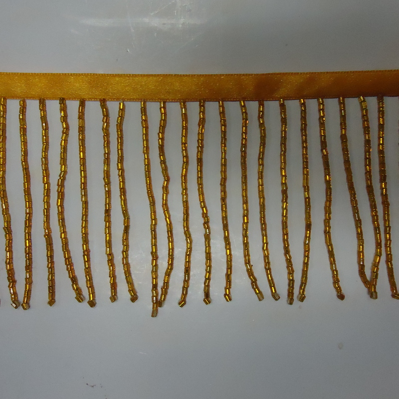 GLASS BEADED FRINGE DARK GOLD