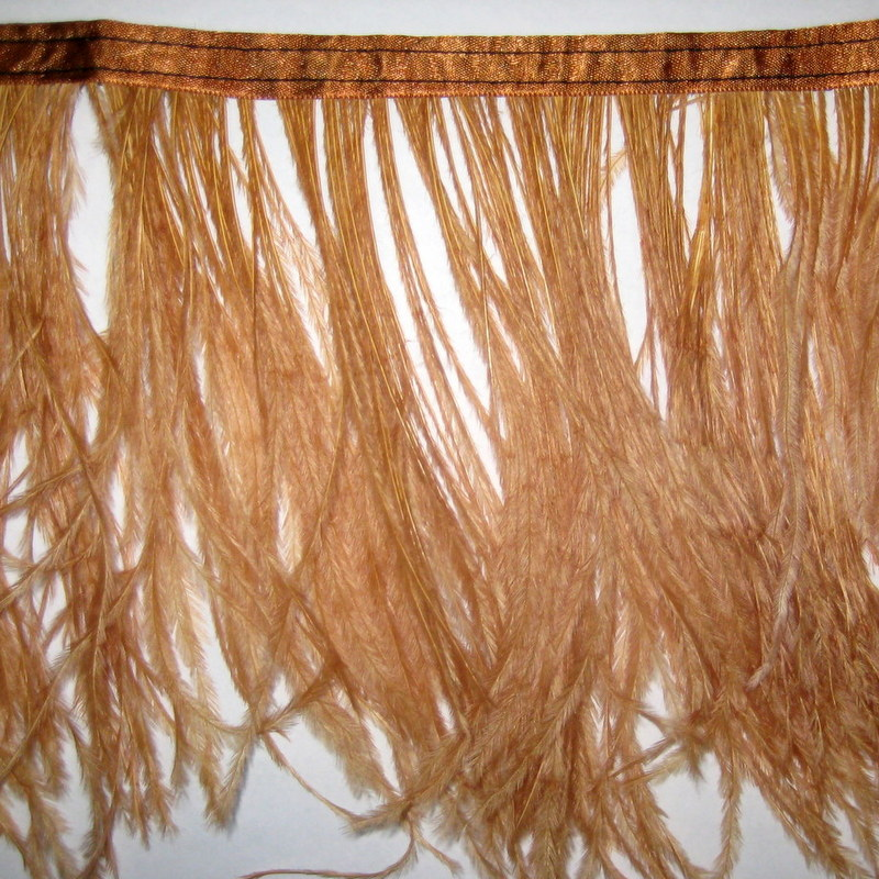 OSTRICH FRINGE LIGHT BROWN