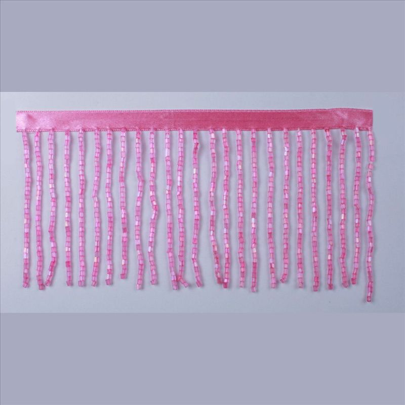 GLASS BEADS FRINGE HOT PINK