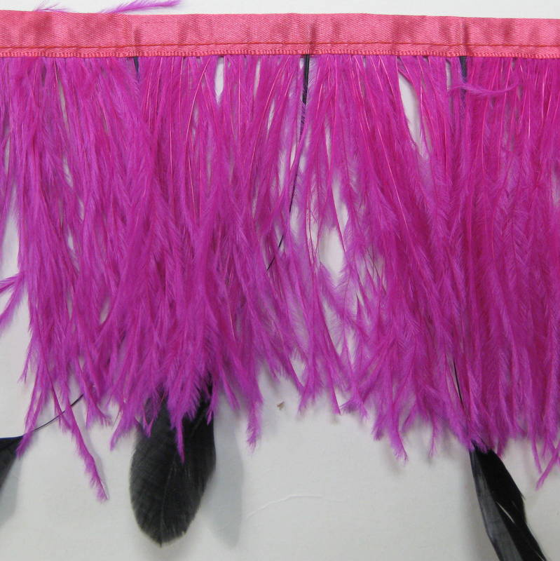 OSTRICH FRINGE HOT PINK & BLACK