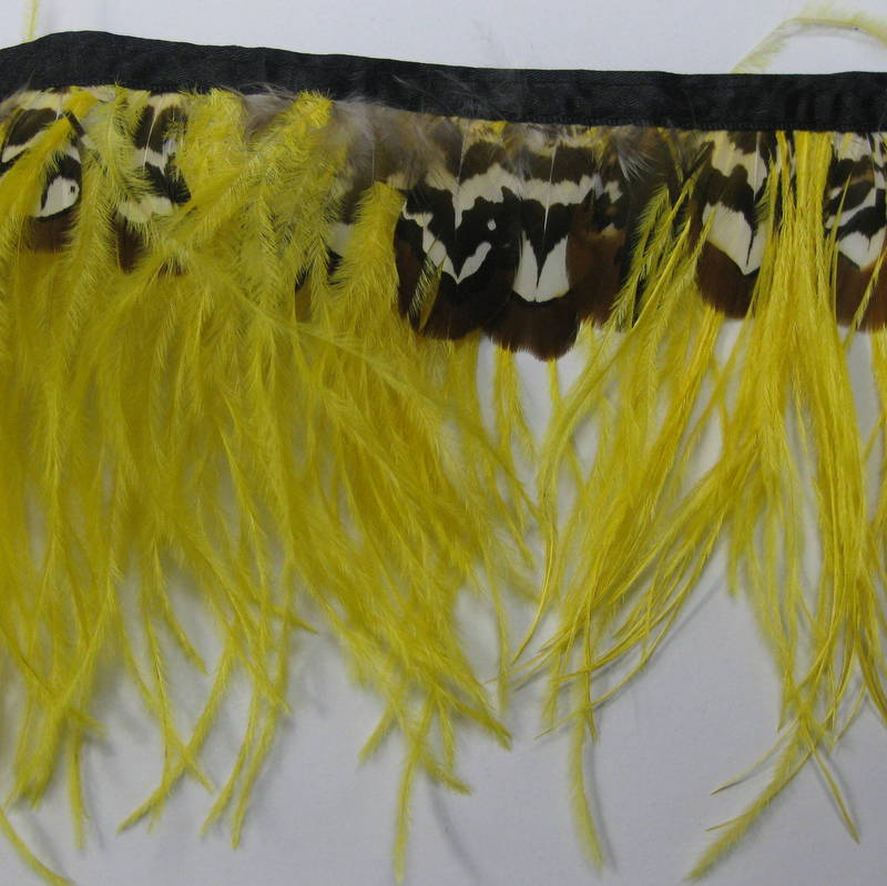 OSTRICH FRINGE YELLOW & BROWN