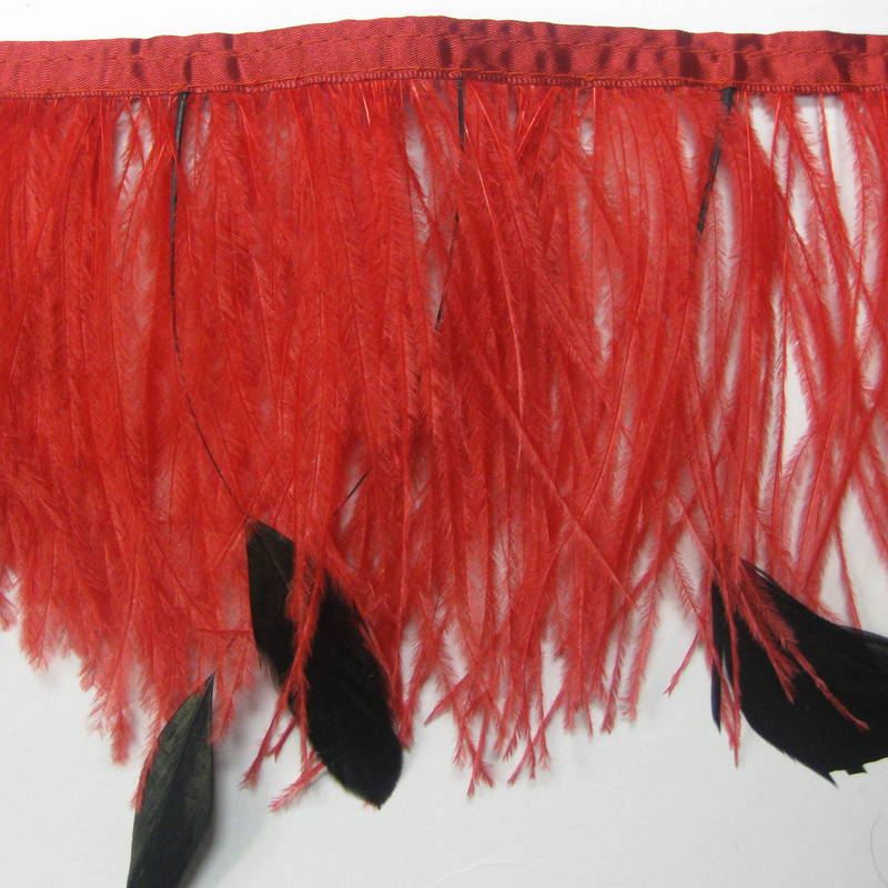 OSTRICH FRINGE RED & BLACK